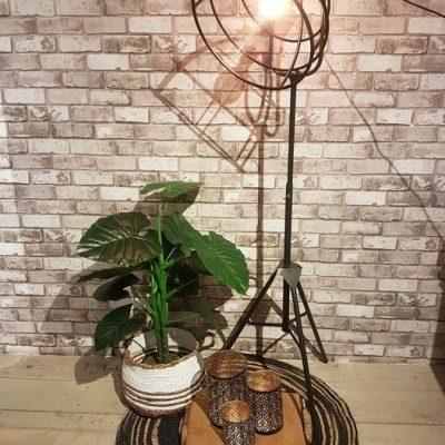Lamp verstelbaar en 1.80 hoog: €149,- Matje: €19,99 Mand: € 29,99 Plant: €49,99 Kussen: €17,99 Windlichten: klein €8,99, middel €12,99, groot €14,99